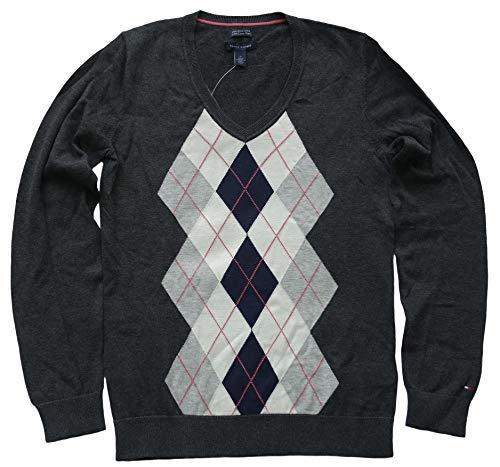 Tommy Hilfiger Women's Argyle V-Neck Cotton Sweater Cardigan - Size L Gray
