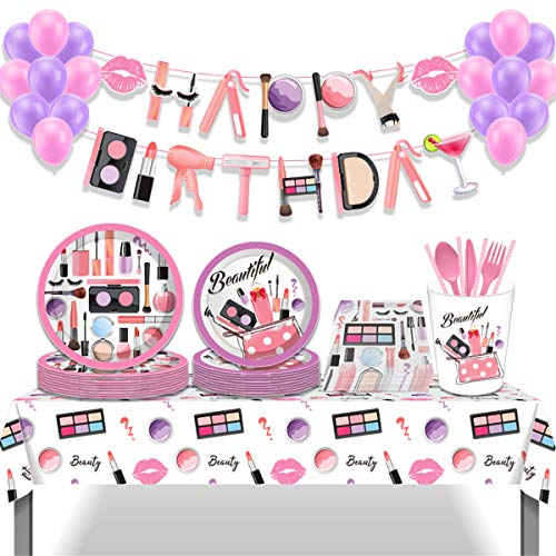 Girls Make Up Spa Birthday Party Decorations Kit Serves 8 Guests Including Plates Napkins Cups Forks Spoons Knives,Tablecloth,Banner Balloons Set for Kids Adults Party Decorations