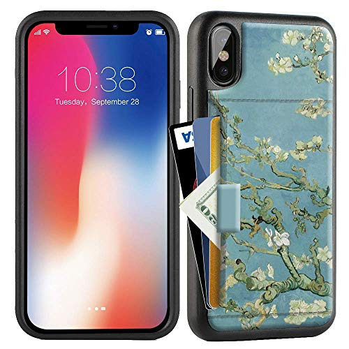 ZVE Case for Apple iPhone Xs and X, 5.8 inch, Wallet Case with Credit Card Holder Slot Slim Leather Pocket Protective Case Cover for Apple iPhone Xs and X 5.8 inch (Aries Series)- Van Gogh Bloom