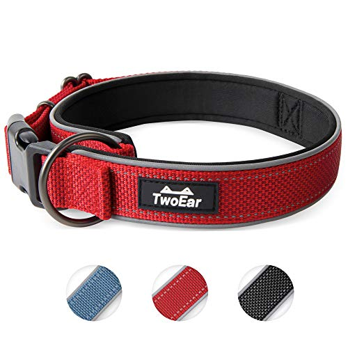 TwoEar Dog Collar Neoprene Padded Soft Comfortable Dog Collar Heavy Duty Adjustable Breathable Reflective Durable for Extral Large Medium Small Dogs Pet and All Breed (Small, Red)
