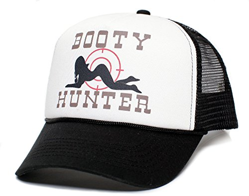 Booty Hunter Unisex-Adult Curved Bill One-Size Truckers Hat ((Black/White))