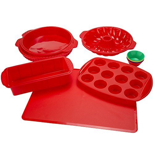 Silicone Bakeware Set, 18-Piece Set including Cupcake Molds, Muffin Pan, Bread Pan, Cookie Sheet, Bundt Pan, Baking Supplies by Classic Cuisine