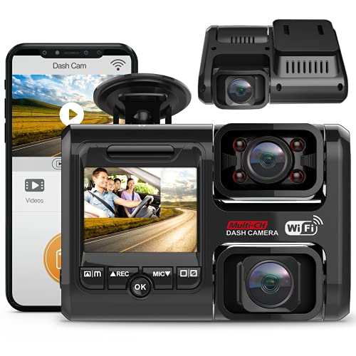 2021 Upgrade 4K 2160P Front & FHD 1080P+1080P Dual Dash Cam with WiFi, Front and Inside for Cars Taxi, 24H Parking Monitor, Infrared Night Vision, G-Sensor, 2.0' LCD Loop Recording Car Camera