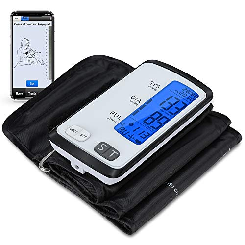 Blood Pressure Monitor Bluetooth with 8.7-16.5' Large Upper Arm BP Cuff,Integrated Automatic BP Monitor Smartphone APP, 2 Users, 180 Sets Memories, Large LCD Backlight Display
