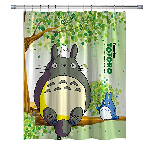 summer007 Totoro Shower Curtain,Japanese Anime Character Waterproof Polyester Fabric Shower Curtain for Bathroom, Bathroom Accessories with Hooks, 71X 71 in
