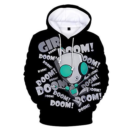 BESTcos Mens Zim Gir Doom Hoodie Adult Casual Hooded Zipper Sweatshirt (M, Color1)