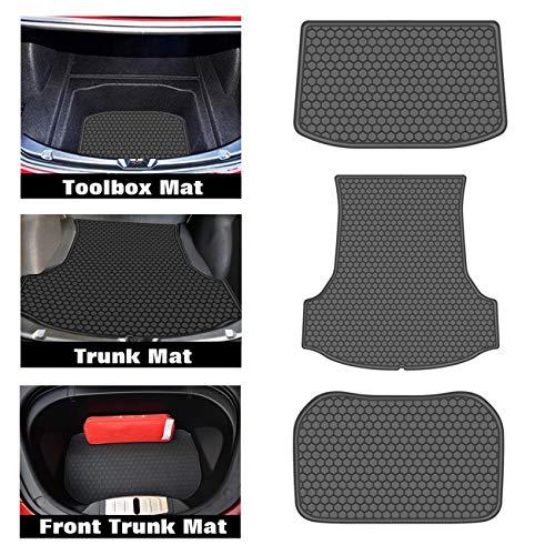 biosp Car Front Rear Trunk Mat Cargo Liner for Tesla Model 3 2017 2018 2019 All Weather Black Heavy Duty Rubber Custom Fit-Waterproof-Odorless