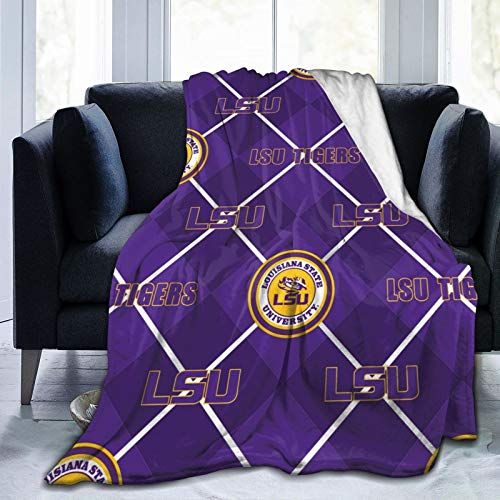 Flannel Fleece Unique Throw Blanket, LSU Tigers Blankets for Cold Weather Daycare, Ultra Cozy and Thick Anti-Static 60 X 50 Inch