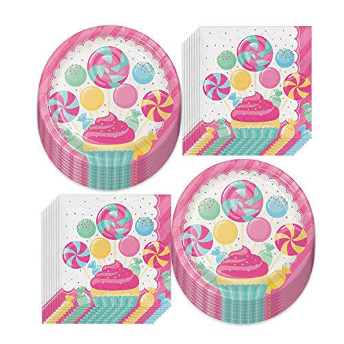 Candy Party Supplies - Sweet Treats Ice Cream, Cupcakes, and Candy Land Paper Dinner Plates and Luncheon Napkins (Serves 16)