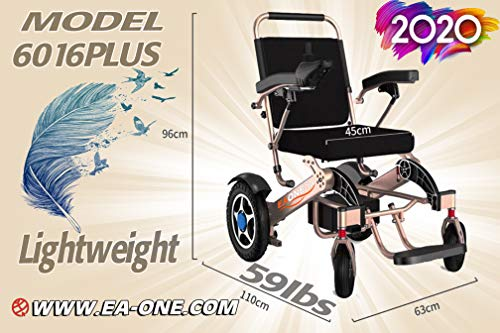 2020 EAONE Folding Lightweight Motorized Electric Power Wheelchair Scooter,Remote Control,Aviation Travel Safe Electric Wheelchair Heavy Duty Power Wheelchair (19 Inch Seat). (Gray)