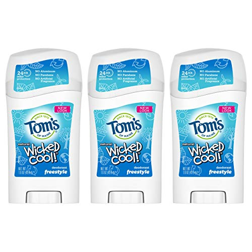 Tom's of Maine Aluminum-Free Natural Wicked Cool Teen Boys Deodorant, Natural Deodorant, Deodorants, Freestyle, 1.6 Ounce, 3-Pack