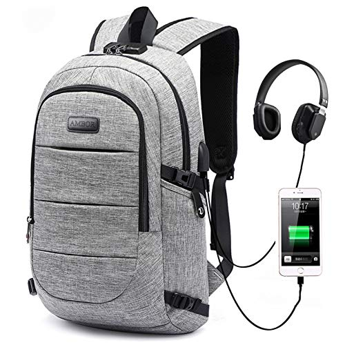 Laptop Backpack, AMBOR Business Travel Laptops Backpack Anti Theft 15.6-17.3 Inch for Men & Women with USB Charging/Headphone Port, College School Computer Bookbag Gifts Fits Notebook, Grey
