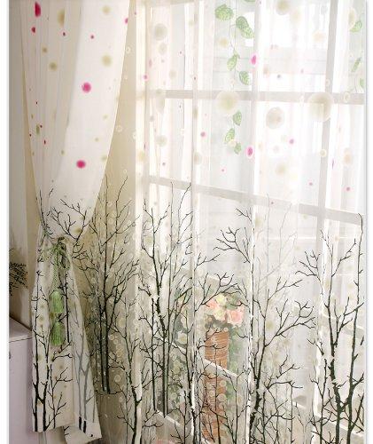Elleweideco Modern Tree Branch White Sheer Green/pink/grey Window Curtains/drape/panel (95'' 84'' 63'') (Green Pink, 52Wx63L)