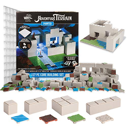 Monster Adventure Terrain - 127pc Core Building Set w Baseplate - Fully Modular and Stackable 3-D Tabletop World Builder Compatible with DND Dungeons Dragons, Pathfinder, and All RPG Games