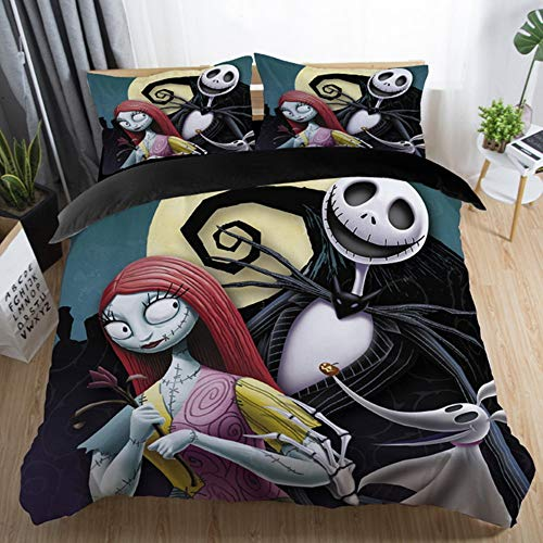 LightInTheBox King Size Duvet Cover Sets, Nightmare Before Christmas Bedding Set Comforter Cover with Pillowcase,Set of 3 (Black-1)