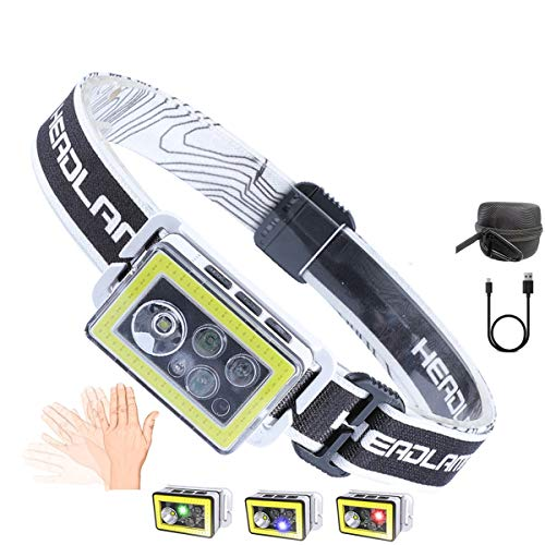 Fuyooh Headlamp USB Rechargeable, 1000 Lumens, 11 Light Modes, Flashlight Motion Sensor Control Waterproof Headlamp for Outdoor Cycling, Camping, Fishing, Hiking, Hunting