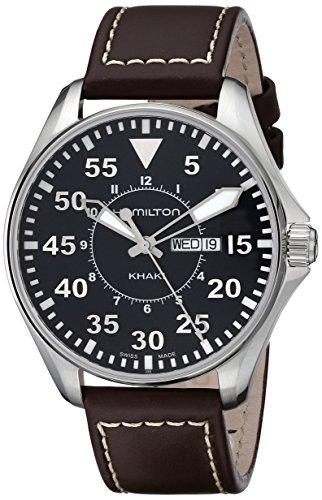 Hamilton Men's H64611535 Khaki King Pilot Black Watch with Brown Leather Band
