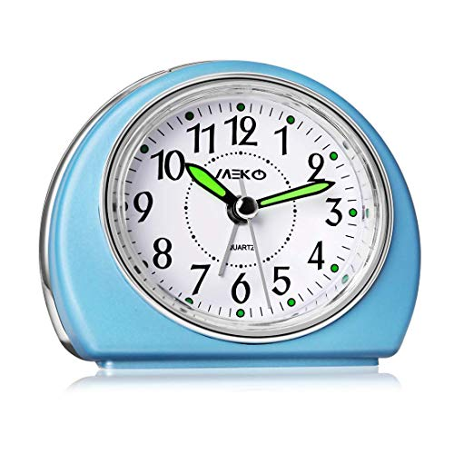 MEKO Alarm Clocks Non-Ticking for Bedrooms, Smart Tickless AA Battery Powered Travel Alarm Clock with Snooze and Nightlight, Silent No Ticking Bedside Clock(Blue)