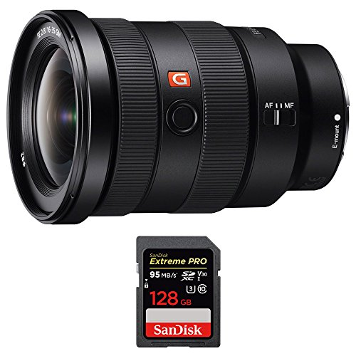 Sony (SEL1635GM FE 16-35mm F2.8 GM Wide-Angle Zoom Lens Full-Frame E-Mount Cameras w/Sandisk Extreme PRO SDXC 128GB UHS-1 Memory Card