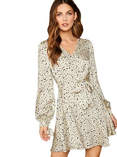 Milumia Women's Long Sleeve Vintage Floral Print Boho Split Wrap Slim Dress Beige Large