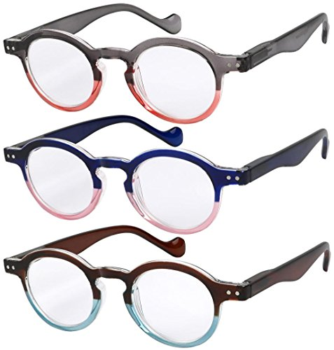 Reading Glasses 3 Pairs Fashion Springe Hinge Readers Glasses for Reading Men and Women +1