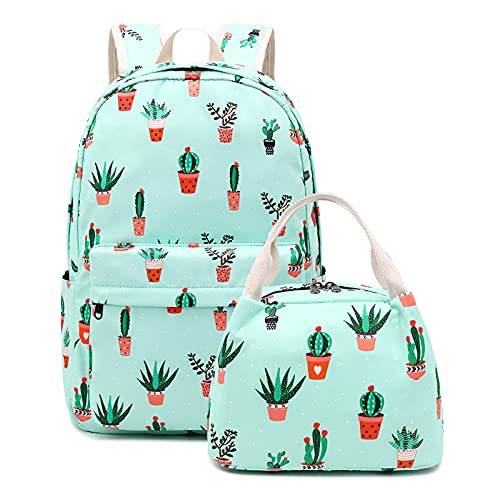 Cactus Teens Backpack Set Girls School Bags, Bookbags with Lunch Bag Elementary Middle School Womens College