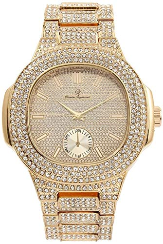 Bling-ed Out Oblong Metal Mens Color on Blast Watch - 8475Color (Gold)
