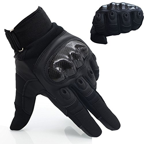 OMGAI Men's Full Finger Motorcycle Gloves of PU Leather and Hard Knuckle for Military Tactical Airsoft Outdoor Sports Black, XL