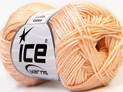 Lot of 6 Skeins Ice Yarns CAMILLA COTTON (100% Mercerized Cotton) Yarn Dark Cream