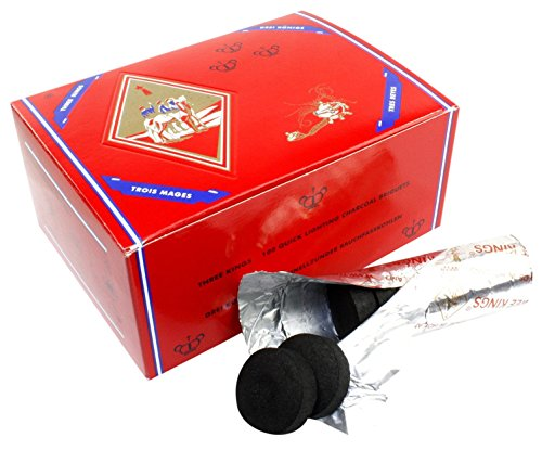 Three King Charcoal -33 mm Premium Hookah Incense Charcoal Coals,100 Count (Pack of 2)