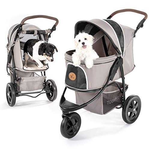 Hauck TOGfit Pet Roadster - Luxury Pet Stroller for Puppy, Senior Dog or Cat | Easy Foldable Three Wheels Travel Pet Jogger max. Loading 70 lb, Mattress Included - Gray
