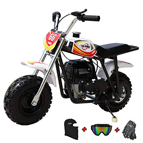 X-PRO 40cc Mini Dirt Bike Pit Bike Gas Power Bike Off Road Motorcycle with Gloves, Googles and Face Mask,Red