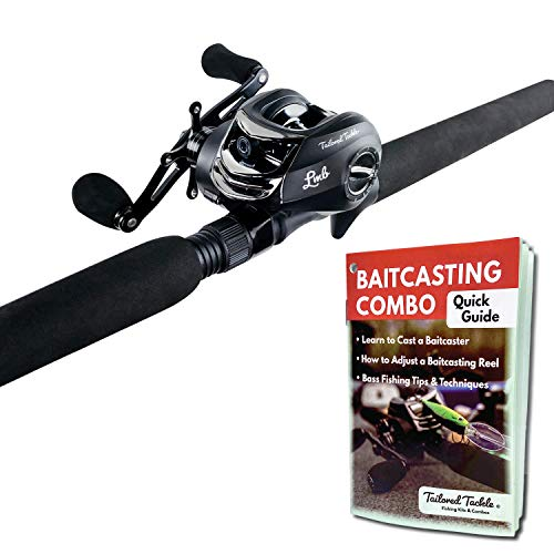 Tailored Tackle Bass Fishing Baitcasting Combo 7 Ft 2 -Piece | Casting Rods Power: Med. Heavy Fast Action | 7 BB Baitcast Reels Gear Ratio - 6.3:1 | Baitcaster Pole (Right Handed Baitcaster)