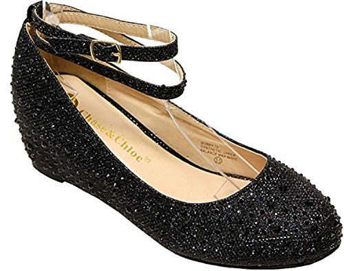 Chase & Chloe BOBBY-12 Hidden Heel Rhinestone Bead Glitter Upper Round Toe Synthetic Wedges Pumps for Women Black 7.5