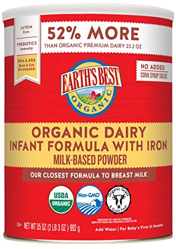 Earth's Best Organic Dairy Infant Powder Formula with Iron, Omega-3 DHA and Omega-6 ARA, 35 Ounce