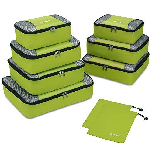 Gonex Packing Cubes 9 Set Travel Luggage Organizer with Laundry bag Light Green