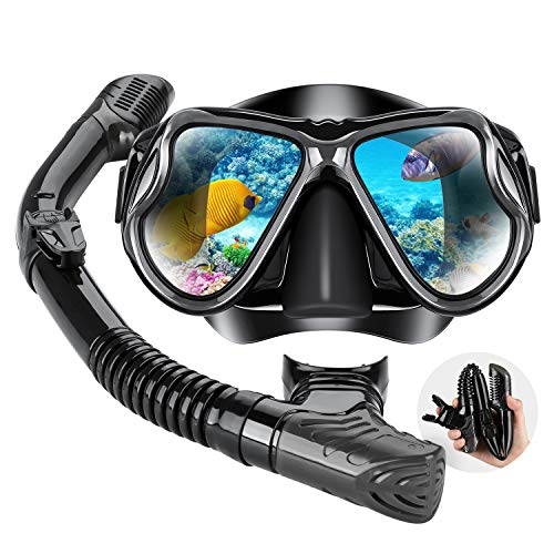 Dry Snorkel Mask Set Snorkeling Gear – Foldable Dry Snorkel Set with Dry-wet Switchable Float Valve, Purge Valve Tube, Anti Fog 180 Panoramic Silicone No Leak Seal Mask for Adults and Youth