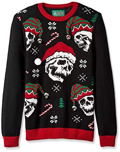 Ugly Christmas Sweater Company Men's Assorted Crew Neck Sweaters with Fun Icons, Sayings, Black Xmas Sculls, Large