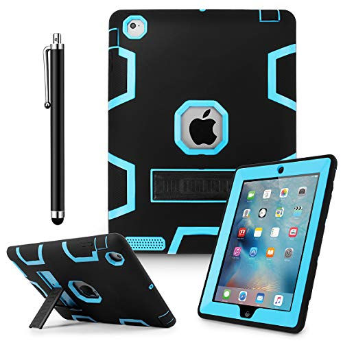 iPad 2 Case,iPad 3 Case,iPad 4 Case,AICase Kickstand Shockproof Heavy Duty Rubber High Impact Resistant Rugged Hybrid Three Layer Armor Protective Case with Stylus for iPad 2/3/4 (Black+Light Blue)