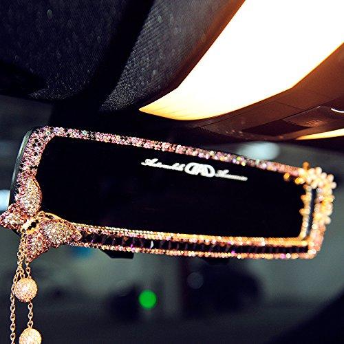 FULL WERK Car Charm Brilliant Shining Diamond Butterfly Rearview Mirror Bling Bling for Girls Woman, Car Interior Trim, Best Birthday (Purple)