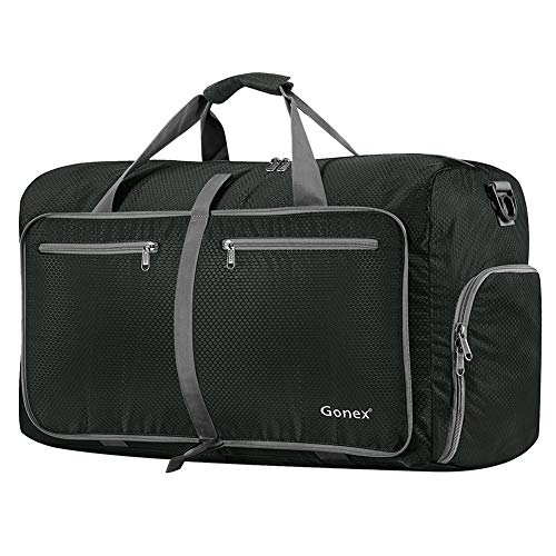 Gonex 80L Packable Travel Duffle Bag Foldable Duffel Bags for Luggage Gym Sports Camping Travelling Cycling Storage Shopping Water & Tear Resistant Gray