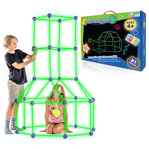 Fun Forts Glow Kids Tent for Kids - 81 Pack STEM Toys Glow in The Dark Fort Building Kit, Building Toys Play Tent Indoor and Outdoor Playhouse for Kids Construction Toys with 53 Rods and 28 Spheres