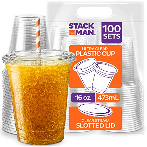 Stack Man [100 Sets - 16 oz.] Clear Plastic Cups with Straw Slot Lid, PET Crystal Clear Disposable 16oz Plastic Cups with lids