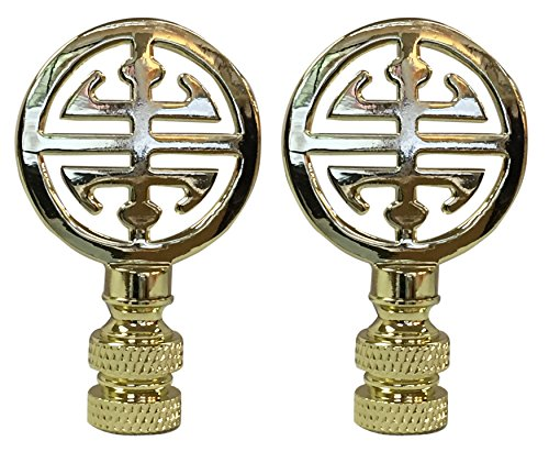 Royal Designs Oriental Happiness Symbol 2.25' Lamp Finial for Lamp Shade, Polished Brass - Set of 2