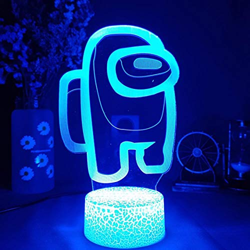 Ginkago Among Us Night Light Game Table Lamp 3D Illusion USB Powered 7 Colors LED Lights with Touch Switch for Kids Gifts Bedroom Decoration