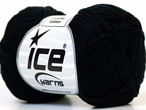 Lot of 6 Skeins Ice Yarns CAMILLA COTTON (100% Mercerized Cotton) Yarn Black