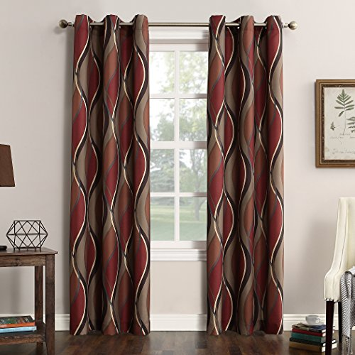 No. 918 Intersect Wave Print Casual Textured Curtain Panel, Paprika, 48' x 63'