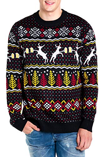 Tipsy Elves Men's Deer with Beer Christmas Sweater - Black Caribrew Ugly Christmas Sweater (4XL)