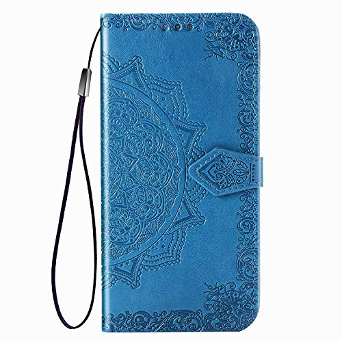 Compatible with iPhone 11 Wallet Case, Luxury PU Leather iPhone 11 Cases 11 Case with Mandala Flower Floral Embossed Credit Card Holder Slot Magnetic Closure Shockproof Protective Flip Case -Blue