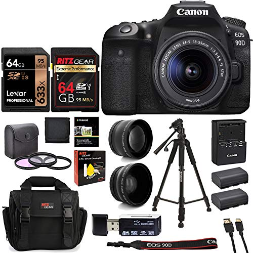 Canon EOS 90D DSLR Camera with 18-55mm Lens, Two Memory Cards, Filter Kit, Camera Bag, Tripod, Lens Attachments and Card Reader Bundle